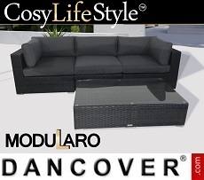 Poly rattan Lounge Set II, 4 modules, Modularo, Black