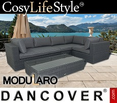 Poly rattan Lounge Set IV, 4 modules, Modularo, Grey