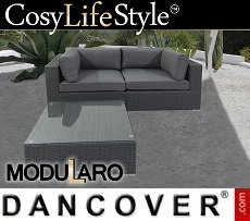Poly rattan Lounge Set, 3 modules, Modularo, Grey