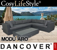 Poly rattan Lounge Set V, 4 modules, Modularo, Grey