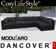 Poly rattan Lounge Sofa I, 5 modules, Modularo, Black