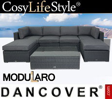 Poly rattan Lounge Set I, 7 modules, Modularo, Grey