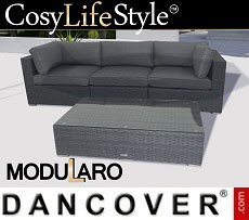 Poly rattan Lounge Set II, 4 modules, Modularo, Grey