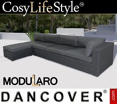 Poly rattan Lounge Sofa II, 5 modules, Modularo, Grey
