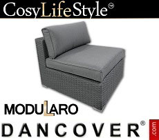 Poly rattan armless section for Modularo, Grey