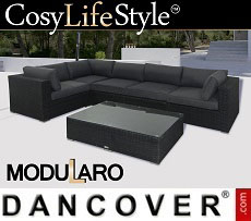 Poly rattan Lounge Set IV, 6 modules, Modularo, Black