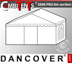 2m end section extension for Semi PRO CombiTent®, 6x2m, PVC, White