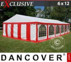 Marquee Exclusive 6x12 m PVC, Red/white