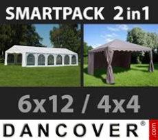Marquee Exclusive 6x12m, White/Gazebo 4x4m, Sand