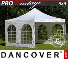 Pop up gazebo FleXtents PRO Vintage Style 4x4 m White, incl. 4 sidewalls