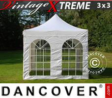 Pop up gazebo FleXtents Xtreme Vintage Style 3x3 m White, incl. 4 sidewalls
