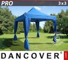 Pop up gazebo FleXtents PRO 3x3 m Blue, incl. 4 decorative curtains