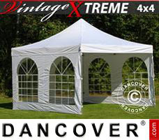 Pop up gazebo FleXtents Xtreme Vintage Style 4x4 m White, incl. 4 sidewalls