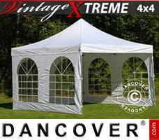 Pop up gazebo FleXtents Xtreme Vintage Style 4x4 m White, incl. 4 sidewalls