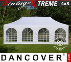 Pop up gazebo FleXtents Xtreme Vintage Style 4x8 m White, incl. 6 sidewalls