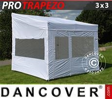 Camping awning Pop up gazebo FleXtents PRO Trapezo 3x3m White, incl. 4 sidewalls