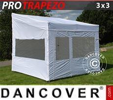 Camping awning Pop up gazebo FleXtents PRO Trapezo 3x3m White, incl. 4 sidewalls