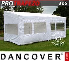 Camping awning Pop up gazebo FleXtents PRO Trapezo 3x6m White, incl. 4 sidewalls