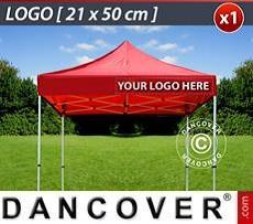 Logo Print Branding 1 pc. valance print 21x50 cm on FleXtents, right-aligned
