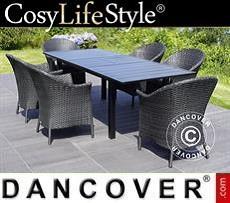 Garden furniture set w/1 garden table + 6 garden chairs, Key West, Black