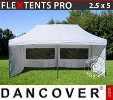 Racing tents Pop up gazebo FleXtents PRO 2.5x5m White, incl. 6 sidewalls