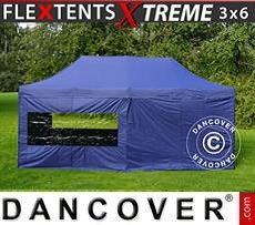 Racing tents Pop up gazebo FleXtents Xtreme 3x6 m Dark blue, incl. 6 sidewalls