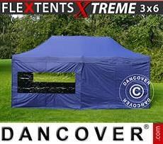 Racing tents Pop up gazebo FleXtents Xtreme 3x6 m Dark blue, incl. 6 sidewalls