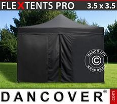 Racing tents Pop up gazebo FleXtents PRO 3.5x3.5m Black, incl. 4 sidewalls