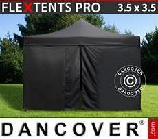 Racing tents Pop up gazebo FleXtents PRO 3.5x3.5m Black, incl. 4 sidewalls