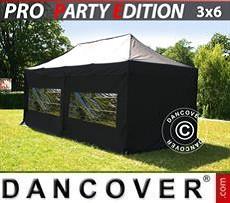 Racing tents Pop up gazebo FleXtents PRO 3x6 m Black, incl. 6 sidewalls