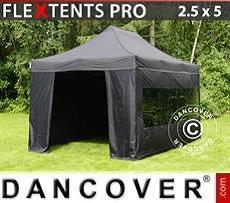 Racing tents Pop up gazebo FleXtents PRO 2.5x5m Black, incl. 6 sidewalls