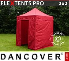 Racing tents Pop up gazebo FleXtents PRO 2x2 m Red, incl. 4 sidewalls