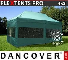 Racing tents Pop up gazebo FleXtents PRO 4x8 m Green, incl. 6 sidewalls