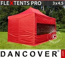 Racing tents Pop up gazebo FleXtents PRO 3x4.5 m Red, incl. 4 sidewalls