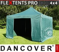 Racing tents Pop up gazebo FleXtents PRO 4x4 m Green, incl. 4 sidewalls