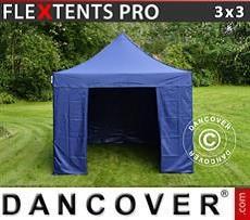 Racing tents Pop up gazebo FleXtents PRO 3x3 m Dark blue, incl. 4 sidewalls