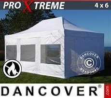 Racing tents Pop up gazebo FleXtents Xtreme 4x6 m White, Flame retardant, incl. 4 sidewalls