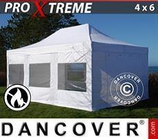 Racing tents Pop up gazebo FleXtents Xtreme 4x6 m White, Flame retardant, incl. 4 sidewalls