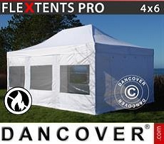 Racing tents Pop up gazebo FleXtents PRO 4x6 m White, Flame retardant, incl. 4 sidewalls