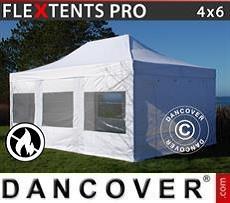 Racing tents Pop up gazebo FleXtents PRO 4x6 m White, Flame retardant, incl. 4 sidewalls