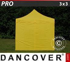 Racing tents Pop up gazebo FleXtents PRO 3x3 m Yellow, incl. 4 sidewalls