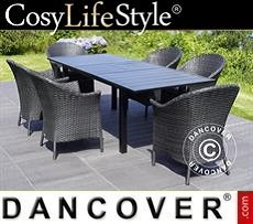 Garden furniture set w/1 garden table + 6 garden chairs, Key West, Black