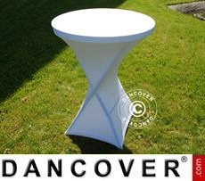 Stretch table cover, Ø80x110 cm, White