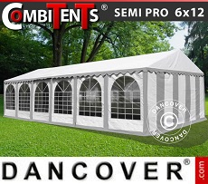 Partyzelt, SEMI PRO Plus CombiTents™ 6x12m 4-in-1, Grau/Weiß