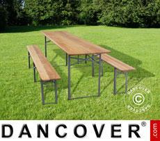 Tisch- und Bank-Garnitur, Holz, einklappbare Stahlbeine, 240cm