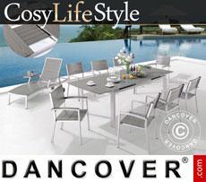 Gartenmöbel-Set, CosyLifeStyle, 1 Tisch & 6 Stühle, Grau