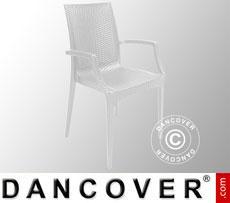 Stuhl mit Armlehnen, Rattan Bistrot, Weiß, 6 Stück