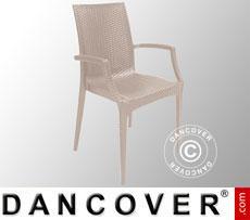 Stuhl mit Armlehnen, Rattan Bistrot, Jute, 6 Stück
