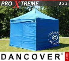 Faltzelt FleXtents Xtreme 3x3m Blau, inkl. 4 Wänden