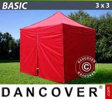 Faltzelt FleXtents Basic 300, 3x3m Rot, mit 4 wänden